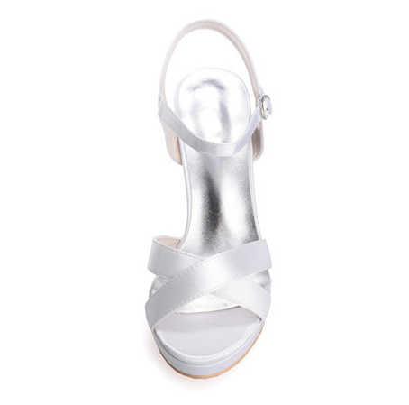Creativesugar Bayanlar saten yüksek topuk sandalet yaz ayakkabı çapraz bant platformu parti kokteyl beyaz fildişi kırmızı kraliyet mavi