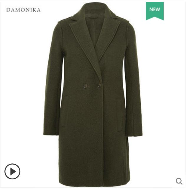 The high end double sided cashmere overcoat has a long suit collar for women