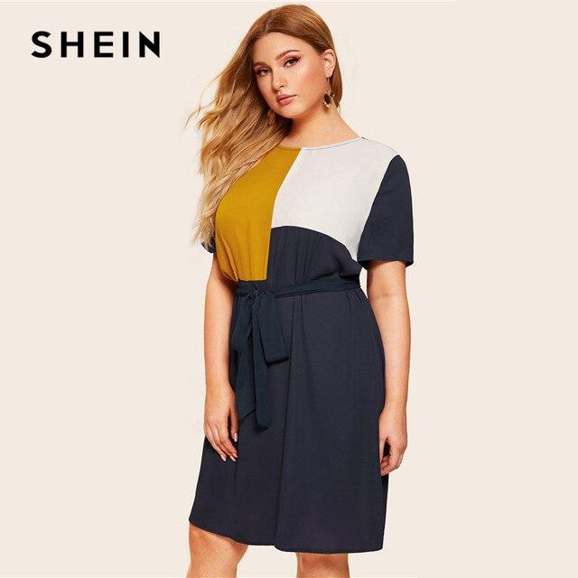 SHEIN Plus Size Waist Belted Color Block Dress Women Summer Tunic Short Sleeve Keen Length Casual Plus Shift Dresses With Belt 1