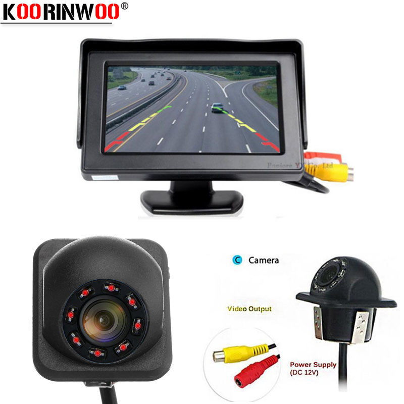 Koorinwoo Parking Kit CCD 8 Lights Night Vision Car Rear view Camera With 4.3 Inch Screen Video Monitor 12V Colorful TFT LCD
