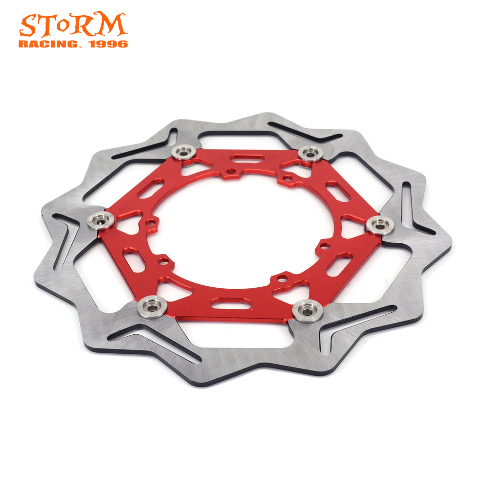 270MM Wavy Front Floating Brake Discs For HONDA CR125R CR250R CR500R CRF250X CRF250R CRF450X CRF450R CRF 250X 250R 450X 450R for honda crf 250r 450r 2004 2006 crf 250x 450x 2004 2015 red motorcycle dirt bike off road cnc pivot brake clutch lever