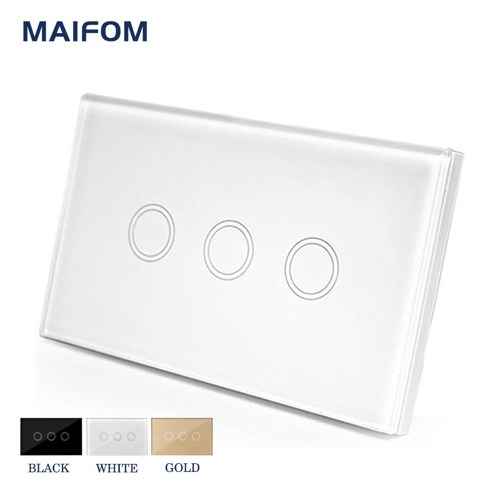 MAIFOM US Standard Wall Switch Glass Panel Touch Switch 3 Gang 1 Way Light Switch 120*72mm Waterproof Home Luxury Switch
