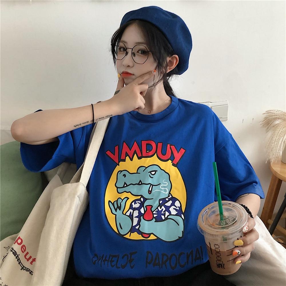 Mr nut big crocodile print top summer round neck short sleeved casual shirt women 39 s cartoon print T shirt in T Shirts from Women 39 s Clothing