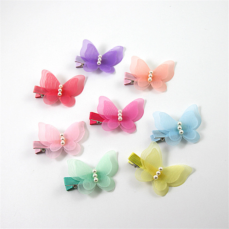цены Fashion Hair Clip Children Girl Chiffon Cloth Hairpin Butterfly Barrette Pearl Bow Summer Style Kid Hair Accessories Gift 4Pcs