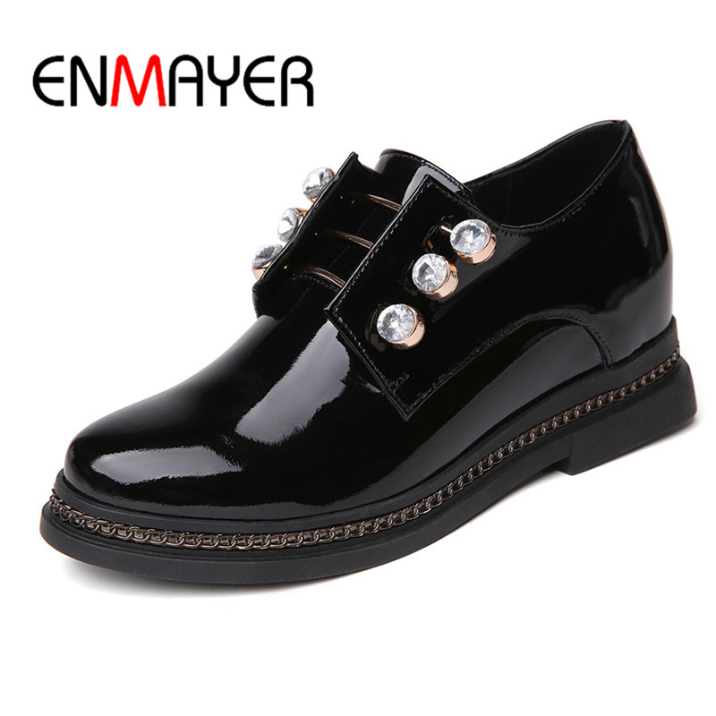 ENMAYER Black White Round Toe Shoes Woman Increased Internal Adult Shoes in Women's Spring&Autumn Casual Shoes Solid Shallow free shipping 2016 spring autumn new increased internal woman shoes elastic band med heels pumps black red white woman shoes
