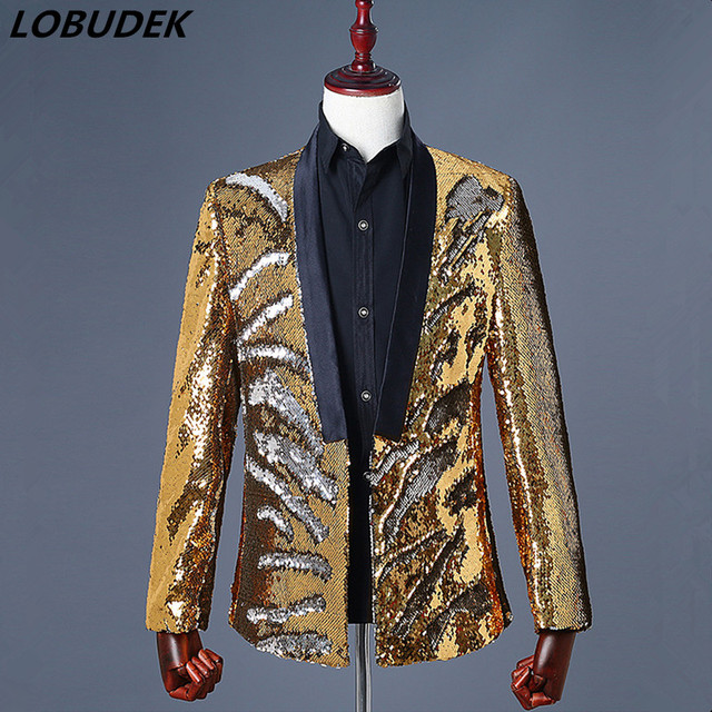82d0acdb94 Double Color Flipping Sequins Jacket Blazer Coat Novelty Gold Silver  Outerwear Men Costume Prom Nightclub Singer Host Stage Wear