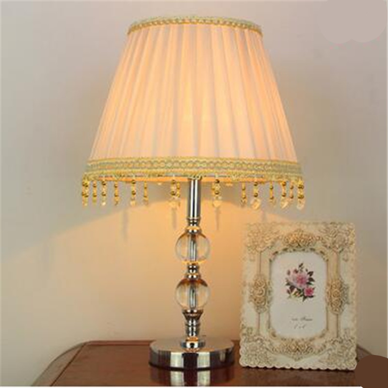 ФОТО Modern Europe Fashion Fabric Clear Crystal Led E27 Table Lamp for Wedding Decor Living Room Bedroom Bedside AC 80-265V 1325