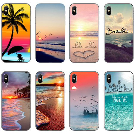 For iphone X Summer Beach Relax Starfish Ocean Sky Sun Hard plastic Phone Cases For iphone 8  6s 7 7plus 6splus  5SE Coque Cover bic 0.5 mm mechanical pencil