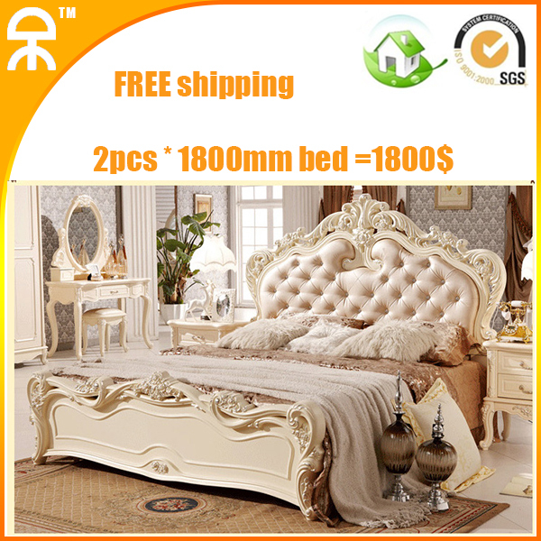 2pcs /lot Sale 6.5u0027 White Modern Luxury French Latest Genuine Leather King  Bed For