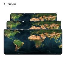 Yuzuoan World Map rubber Edge mouse pad large Overlock mat desk mats big mousepads gaming rug XL for office work/