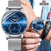 Relojes para hombre HAIQIN 2019 nuevo reloj deportivo de marca superior de oro resistente al agua de acero inoxidable reloj de fase de luna de lujo reloj Masculino|Relojes de cuarzo| |  -