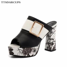 New Summer Shoe Woman I-shaped high-heeled slippers Coarse-heeled sandals for women Sexy Night Club Pumps Plus Size  35-40