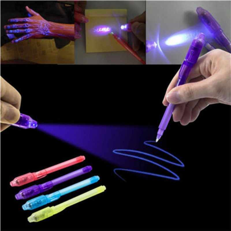 2 In 1 Creative Magic UV Light Invisible Ink Pen Funny Marker Pen For Kids  Students Gift Novelty Item pen Highlighter