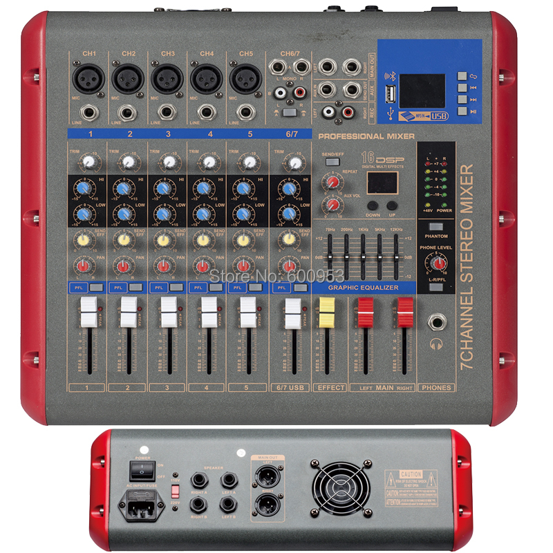 Pro 7 Channel Power Digital Mixer 1200 Watts 2 in 1 Function Amplifier + Microphone Mixing Console with USB DSP Bluetooth leory mini karaoke audio mixer 4 channel microphone digital sound mixing amplifier console built in 48v phantom power with usb