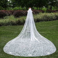 3 Meter Ivory Cathedral Wedding Veils Long Flower Bridal Veil with Comb Wedding Accessories Bride Mantilla Wedding Veil