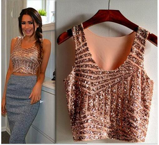 New 2017 Summer Black White Gold Pink Sparkly Women Crop Top Tank Sexy Lady Girls Sequin Lace Bustier Crop Top
