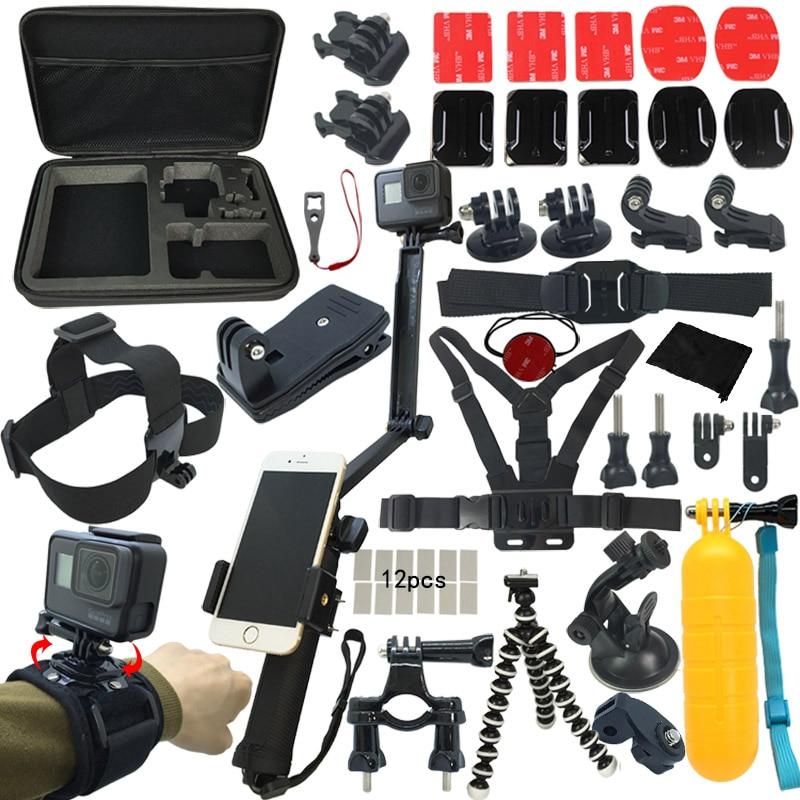 Action Camera Accessories Set/Kit For GoPro Hero 7 6 5 4 Session SJCAM EKEN Xiaomi Yi 4k AKASO Bag Tripod Stick Mount Accessory