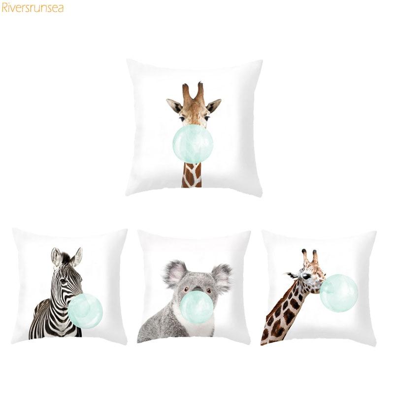 Animal Cushion African Print 45x45cm Decorative Sofa Cushions Giraffe Zebra Panda Rabbit Koala Bubble Green And Pink Pillow Cute