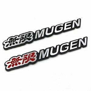 Etiqueta engomada del coche del logotipo de la potencia 3D Mugen insignia trasera de aluminio cromado calcomanía del coche para el maletero del coche para Honda Civic acuerdo CRV fit pegatinas coche