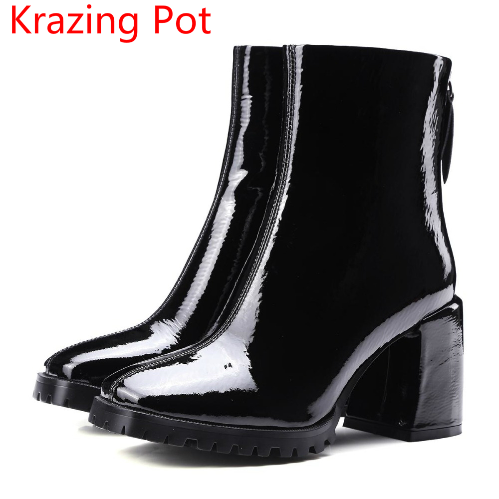 Krazing Pot 2018 genuine leather fashion boots thick heel superstar shoes motorcycle boots retro runway women mid-calf boots L10 new fashion superstar brand winter shoes embroidery snow boots tassel women mid calf boots thick heel causal motorcycles boots