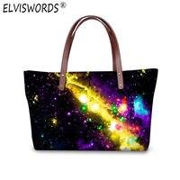 ELVISWORDS Stars Universe Space 3d Printing Large Capacity Shoulder Handbags for Women Casual Lady Top Handle Bags Bolsas Mujer
