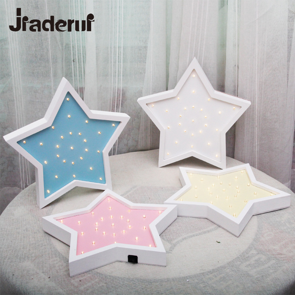 Jiaderui Wooden Star Led Night Light for Children Gift Table Lamp Bedside Bedroom Living Room Home Indoor Decor Wall Desk Lights novelty magnetic floating lighting bulb night light wood color base led lamp home decoration for living room bedroom desk lamp