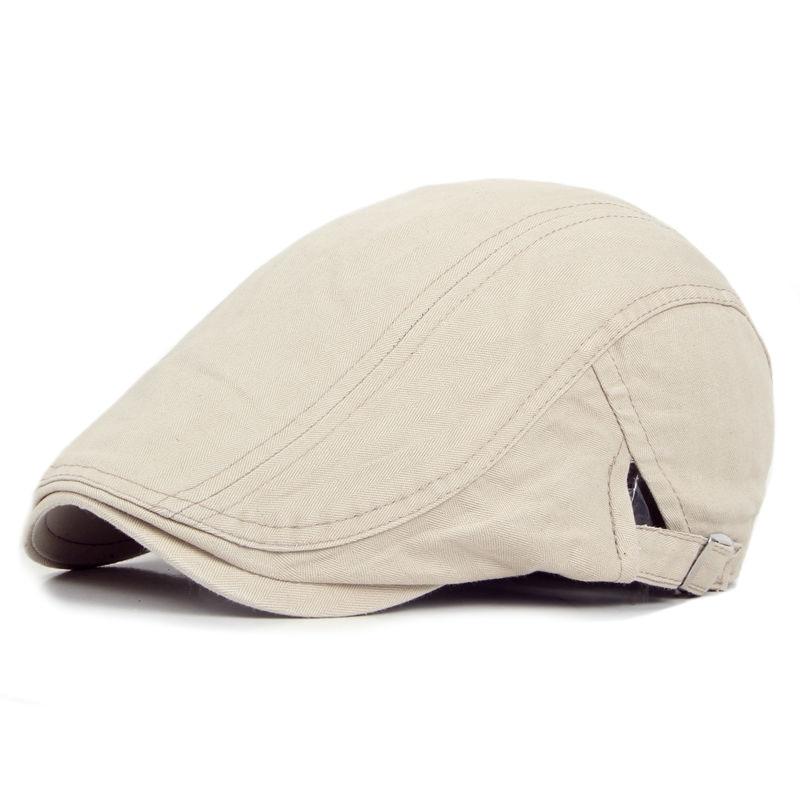 Topi Baret adjustable, Musim semi musim panas di luar ruangan matahari bernapas tulang topi penuh, Womens Mens Herringbone padat baret datar topi topi