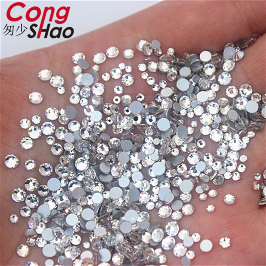 Cong Shao 1440pcs Mix 6 Size Glass Crystal AB Rhinestones Flat Back Round  Nail Art Stones Non Hotfix Clear Strass Crystals YB992-in Rhinestones from  Home ... 7c29901db791