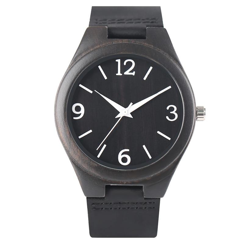 YISUYA 100% Natural Black Wood Watches Luxury Quartz Wristwatch Creative Ebony Wooden Case Genuine Leather Band Strap Mens Gift