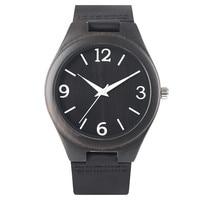 YISUYA 100 Natural Black Wood Watches Luxury Quartz Wristwatch Creative Ebony Wooden Case Genuine Leather Band