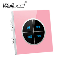 Hign End Pink 4 gangs 2 way Glass Panel Touch Light Switch Free Design Waterproof 110V~250V wall touch switch,Free Shipping