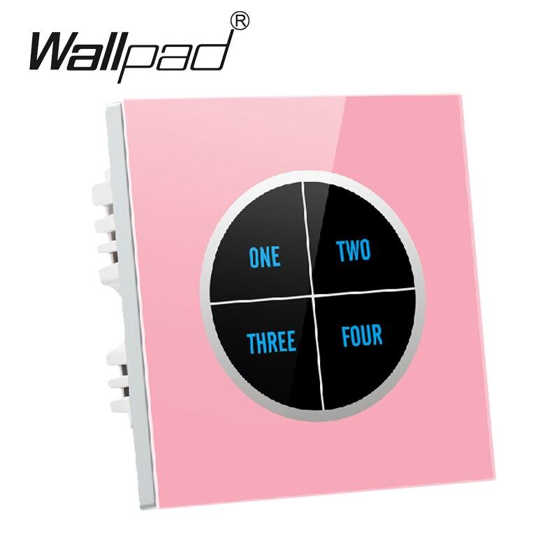 Rose haut de gamme 4 gangs 2 voies panneau de verre tactile interrupteur Design gratuit étanche 110 V ~ 250 V mur tactile interrupteur, livraison gratuite
