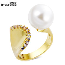 DC1989 Women Cocktails Ring Mermaid Style 3 Colors 12 mm Synthetic Pearl Zircon Paved Gold-color Femmes Anneaux Sizes 5 to 10(China)