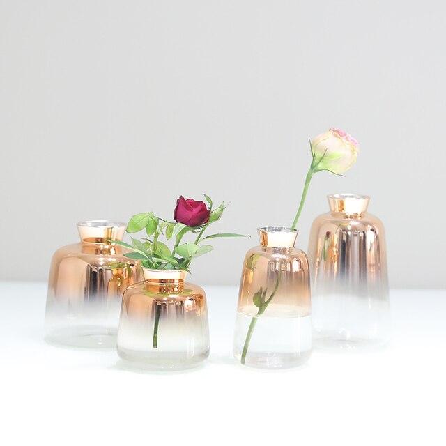 europe gradual gold glass vase terrarium glass containers mini small