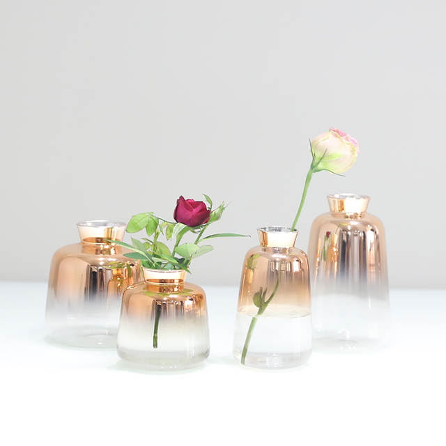 225 & Europe Gradual gold glass vase terrarium glass containers Mini Small flower vases Bottle Hydroponic Container Home decoration