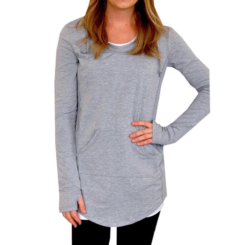 YJSFG HOUSE Women Hooded Sweatshirt 2017 Autumn Long Sleeve Loose Long Shirt Tops Casual Bracers Pullover Home Hoodies Tops Tees
