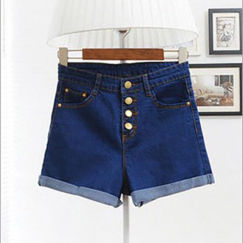 2018 Women 4 Buttons Elastic High Waist Shorts Fashion Feminino Denim Shorts for Women Loose Cuffs Straight Blue Short Jeans 1