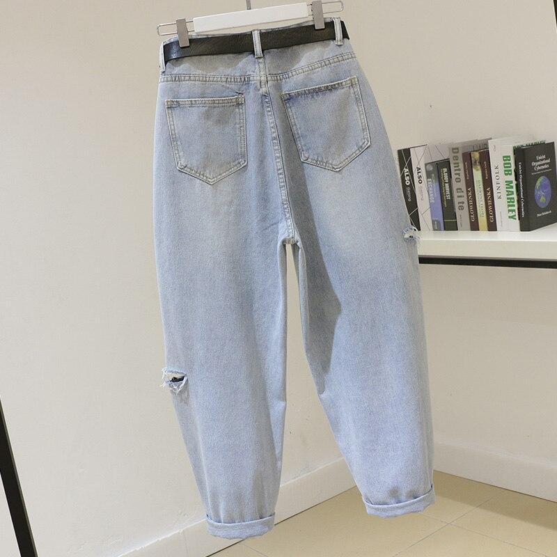 Mode art trous jeans femmes coton pantalon nouveauté 2019 printemps été