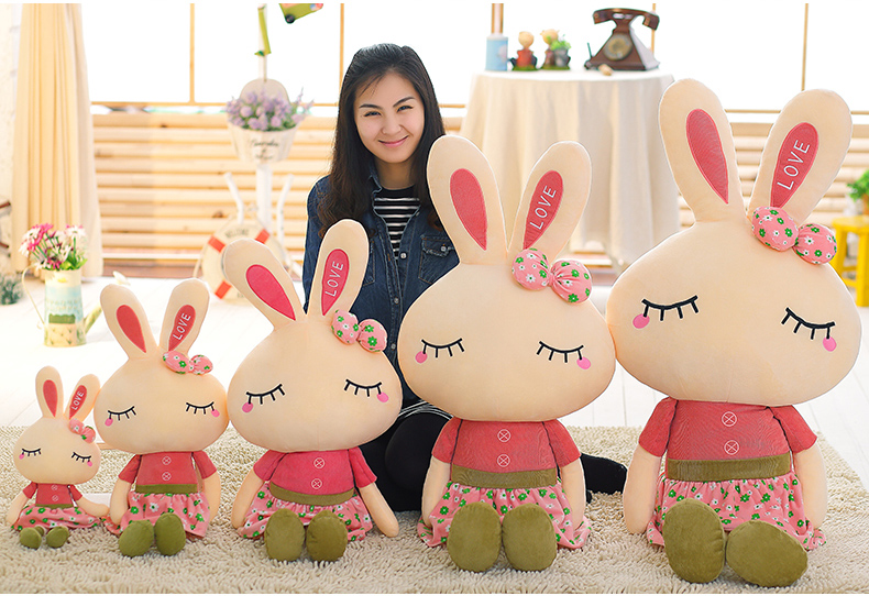 Long Ear Rabbit Doll With Floral <font><b>Dress</b></font> Kid Girl Birthday Gift Hot Sale Plush Toy Doll Super Big Size A-95