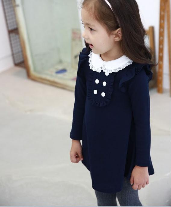 HTB1bUGxLpXXXXXuXpXXq6xXFXXXN - 2017 spring autumn new arrival cotton girl korean clothes doll collar long sleeved casual girls A-line mini dress kids clothing