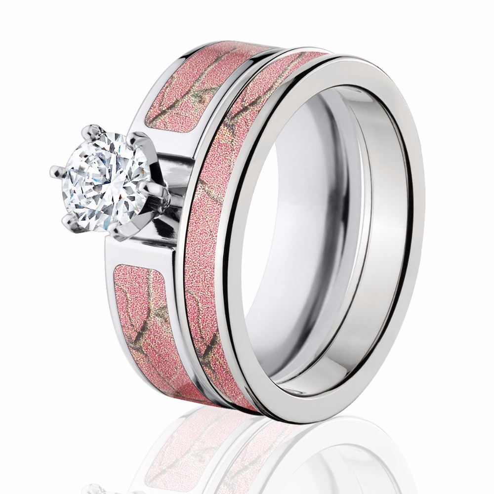 Realtree Wedding Rings: SHARDON Women's Pink Camo Engagement Ring Set Titanium 6