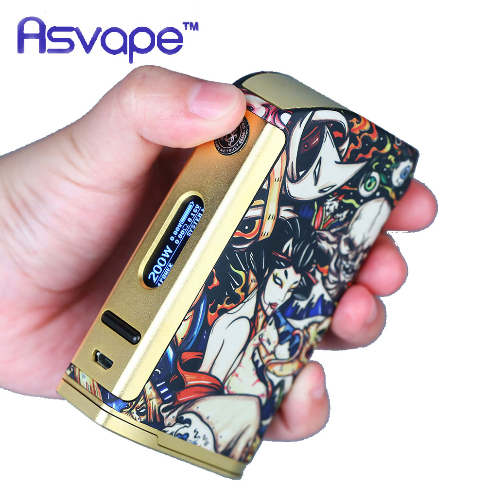 Original 200W Asvape Michael TC Box MOD with Latest VO200 Chip 200W Output Power Huge OLED Display No 18650 Battery E-cig Mod