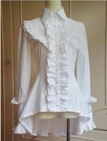 Classic White/Black Turn Down Collar High Low Long Sleeve Lolita Blouse with Heavy Ruffles