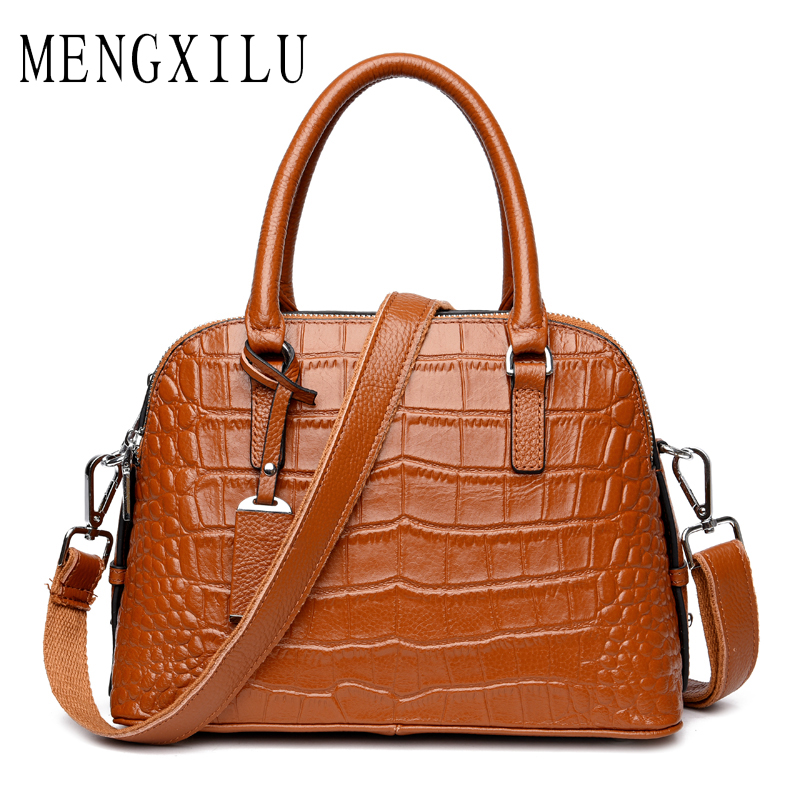 MENGXILU Genuine Leather Handbag Women Messenger Bags Sac a Main Bolsa Bolsos Mujer Tassen Bolsas Feminina Shoulder Crossbody