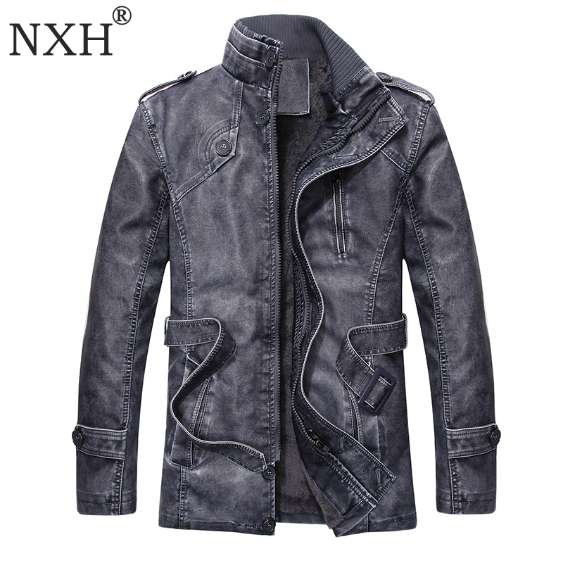 NXHQ7 Autumn Winter European American Windbreaker Medium length Thickening Men's Fur Coat Jacket PU  Leather Plussize Motorcycle