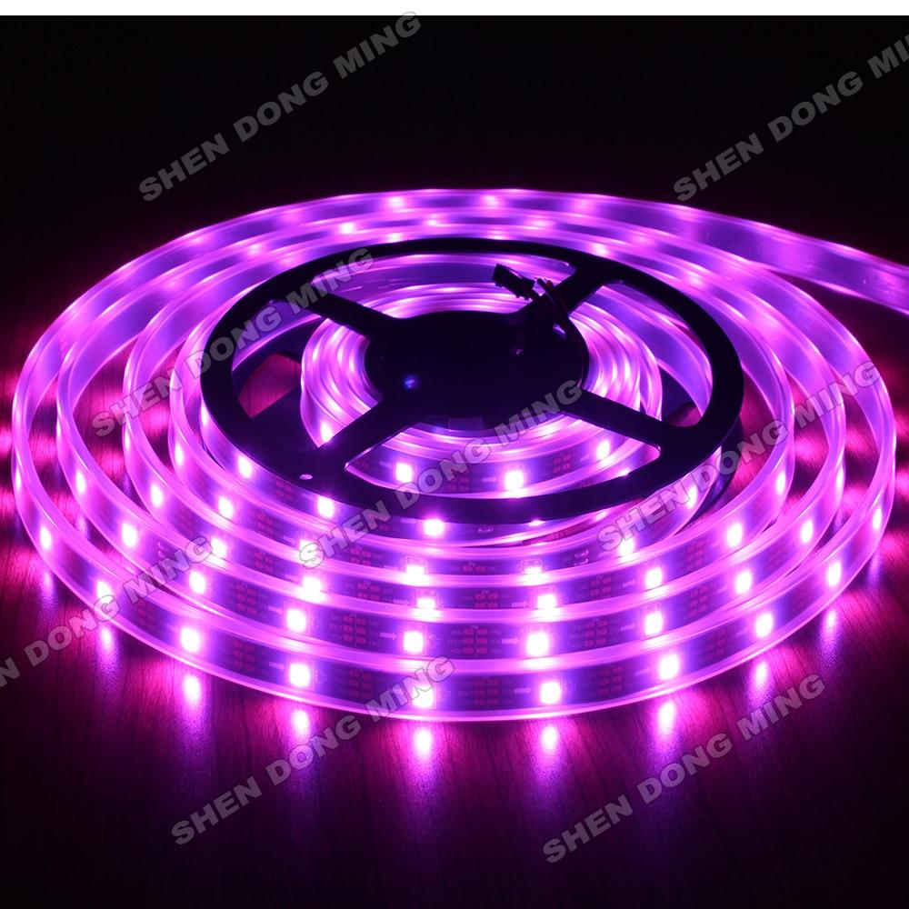 100% Quality High Intensity 50m 5050 Smd Black Pcb Waterproof Ip67 Dc5v 30leds/m Led Light Lamp Rgb Ic Built-in Ws2812 Led Strip Pixel Led Lighting