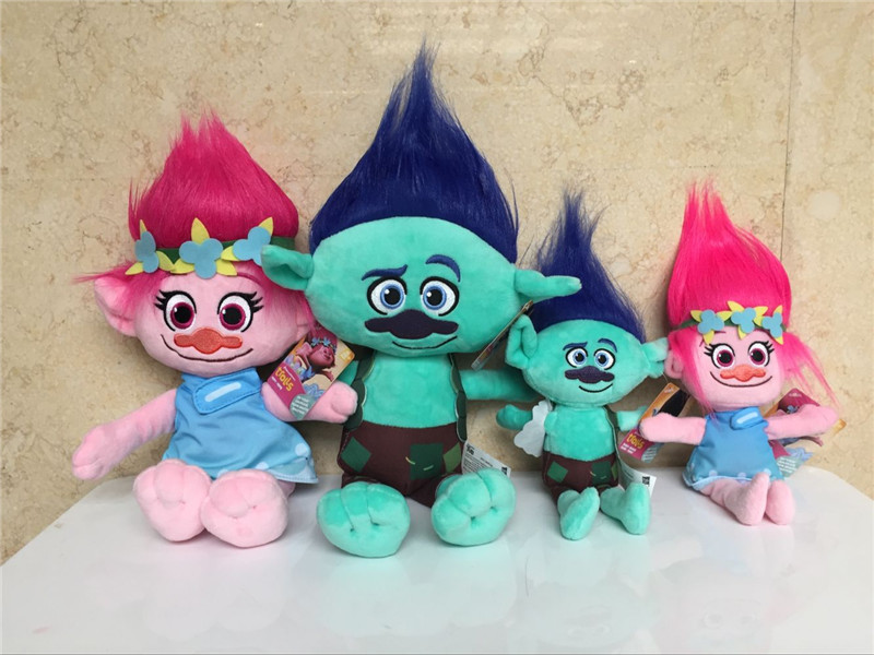 Large 23 35cm Newest Trolls Mega Town The Good Luck Trolls Poppy Branch DreamWorks Doll Cartoon