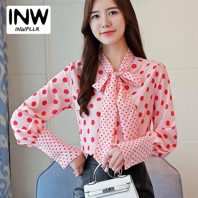 2faf64afe28f4 Mujeres elegante Rosa parcela Dot camisa de las señoras 2019 otoño manga  larga de gasa blusa