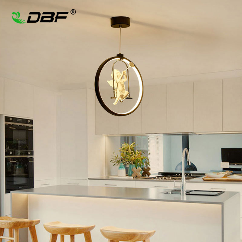 [DBF]Modern Art Angel LED Pendant Light 3 colors Adjustable Creative Personality Restaurant Light Bedroom Hanging Light Fixture modern 3 color adjustable triangle