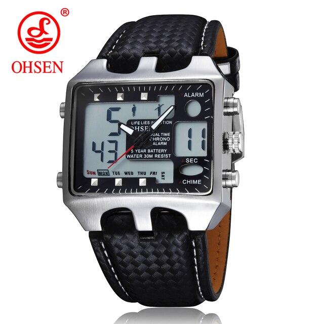 0c8cddc6910d 2017 OHSEN caliente Hombres Deporte Relojes Analógico Digital Quartz 3ATM  Impermeable Casual Moda Reloj Militar Relogio